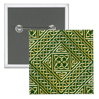 Gold Green Square Shapes Celtic Knotwork Pattern Pinback Button