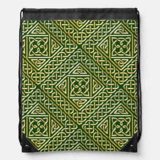 Gold Green Square Shapes Celtic Knotwork Pattern Backpacks