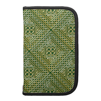 Gold Green Square Shapes Celtic Knotwork Pattern Organizers