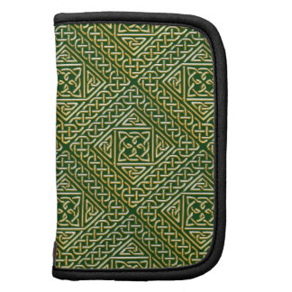 Gold Green Square Shapes Celtic Knotwork Pattern Folio Planners