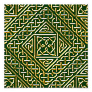Gold Green Square Shapes Celtic Knotwork Pattern Posters