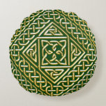 Gold Green Square Shapes Celtic Knotwork Pattern Round Pillow