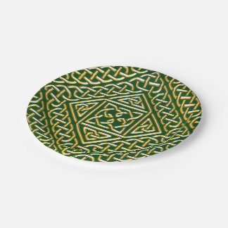 Gold Green Square Shapes Celtic Knotwork Pattern 7 Inch Paper Plate