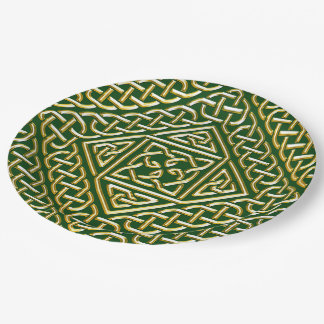 Gold Green Square Shapes Celtic Knotwork Pattern 9 Inch Paper Plate