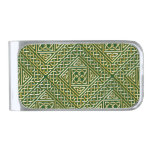 Gold Green Square Shapes Celtic Knotwork Pattern Silver Finish Money Clip