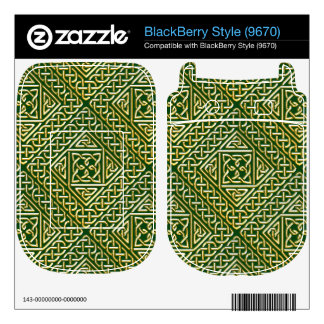 Gold Green Square Shapes Celtic Knotwork Pattern BlackBerry Style Decal