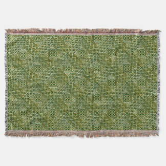 Gold Green Square Shapes Celtic Knotwork Pattern Throw Blanket