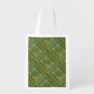 Gold Green Square Shapes Celtic Knotwork Pattern Grocery Bags