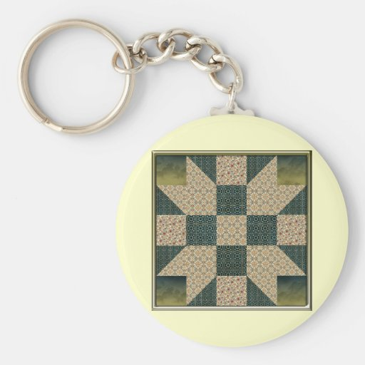Gold & Green Star Patch Basic Round Button Keychain