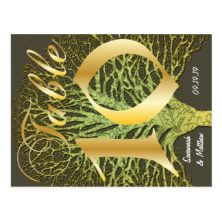 Gold Green Swirly Tree Table Number 10 Postcard