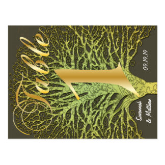 Gold Green Swirly Tree Table Number 1 Postcard