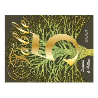 Gold Green Swirly Tree Table Number 5 Postcard