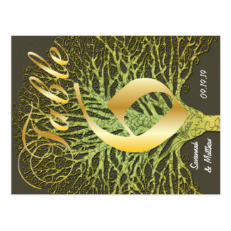 Gold Green Swirly Tree Table Number 6 Postcard