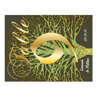 Gold Green Swirly Tree Table Number 9 Postcard