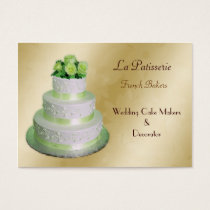 gold green Wedding Cake makers Business Card