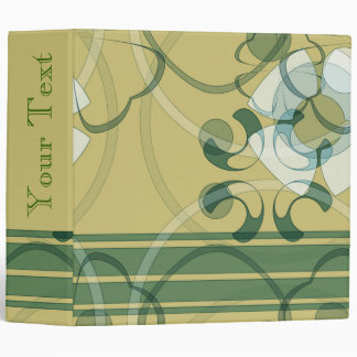 Gold Green White Abstract Design TBA Avery Binder