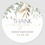 """Gold Greenery Baby Shower Classic Round Sticker<br><div class=""""desc"""">Gold and green greenery baby shower thank you stickers</div>"""