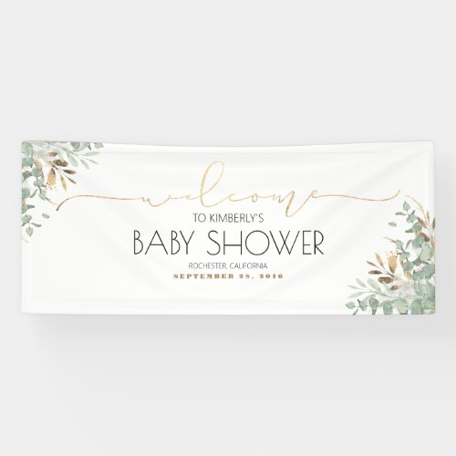 Gold Greenery Branches Baby Shower Banner