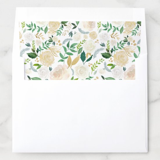 Gold Greenery Watercolor Chic Foliage Floral Envelope Liner