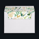 """Gold Greenery Watercolor Floral for 5x7 card Envelope<br><div class=""""desc"""">Create your own Envelope with this """"Gold Greenery Watercolor Floral for 5x7 card Envelope template"""". You can customize it with your return address on the back flap. This envelope design is perfect to match your wedding invitations. (1) For further customization, please click the """"customize further"""" link and use our design...</div>"""