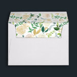 "Gold Greenery Watercolor Floral for 5x7 card Envelope<br><div class=""desc"">Create your own Envelope with this ""Gold Greenery Watercolor Floral for 5x7 card Envelope template"". You can customize it with your return address on the back flap. This envelope design is perfect to match your wedding invitations. (1) For further customization, please click the ""customize further"" link and use our design...</div>"