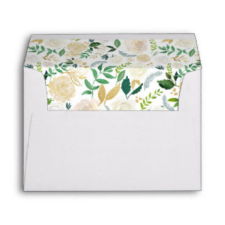 Gold Greenery Watercolor Floral for 5x7 card Envelope