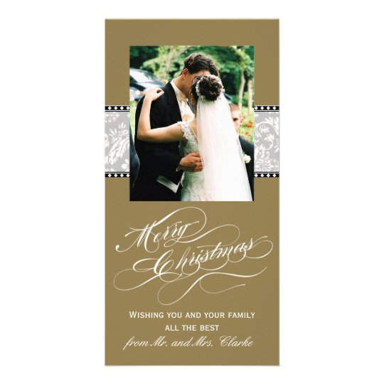 Gold Grey Damask First Christmas Photo Card