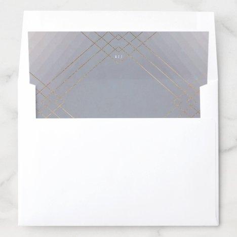 Gold Grey Elegance Diamond Geo Deco Wedding Envelope Liner
