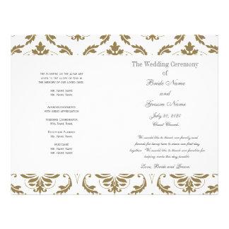 Gold Grey Vintage Damask Wedding Program Full Color Flyer