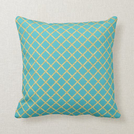 Gold Grid Custom Color Throw Pillow Zazzle