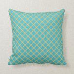 Gold Grid Custom Color Throw Pillow