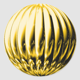 Gold grooved ball classic round sticker