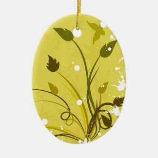 Gold Grunge Butterfly Oval Ceramic Ornament