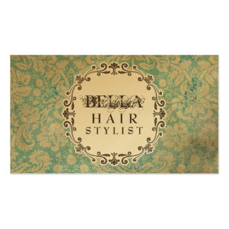 GOLD Grunge Damask Hair Stylist Appointment Cards Double-Sided Standard Business Cards (Pack Of 100)