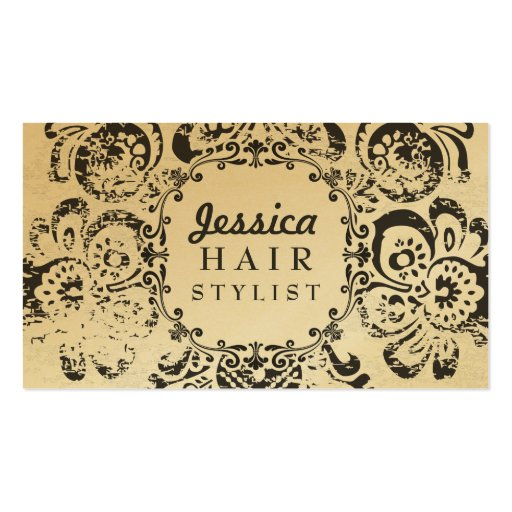 GOLD Grunge Floral Hair Stylist Appointment Cards Double-Sided Standard Business Cards (Pack Of 100)