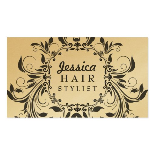 GOLD Grunge Floral Hair Stylist Appointment Cards Business Card Templates