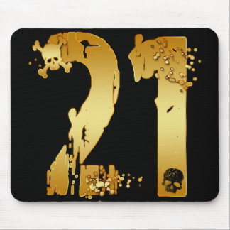 GOLD GRUNGE NUMBER 21 MOUSE PAD