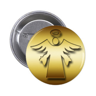 GOLD GUARDIAN ANGEL 2 INCH ROUND BUTTON