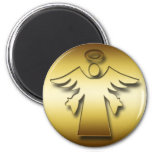 GOLD GUARDIAN ANGEL 2 INCH ROUND MAGNET