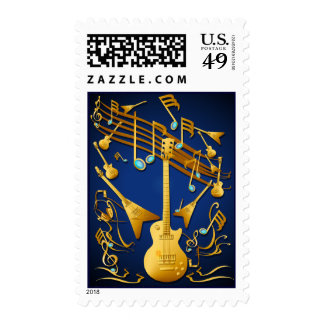 Gold Guitar Party Postage
