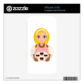 Gold hair kitchen girl with Cookies Decal For The iPhone 4