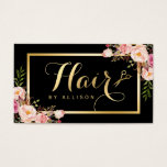"Gold Hair Stylist Scissors Trendy Girly Floral Business Card<br><div class=""desc"">================= ABOUT THIS DESIGN =================