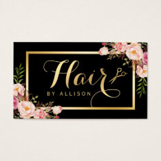 Gold Hair Stylist Scissors Trendy Girly Floral Business Card at Zazzle