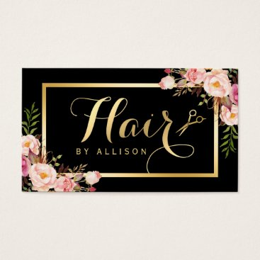 CardHunter Gold Hair Stylist Scissors Trendy Girly Floral Business Card