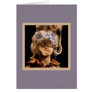 Gold Half-mask With Feathers Card