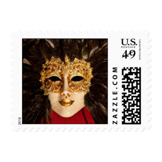 Gold Half-mask With Feathers Postage Stamps