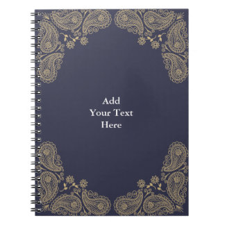 Gold Hand Drawn Paisley on Blue, Add You Own Text Spiral Notebook