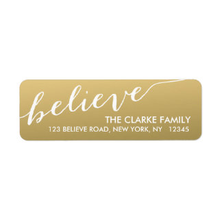 Gold Hand Lettered Believe Holiday Label