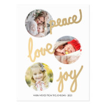 Gold Hand Lettered Holidays Circle Photo Postcard