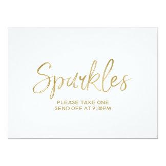 """Gold Hand Lettered """"Sparkles"""" Send Off Sign Card"""